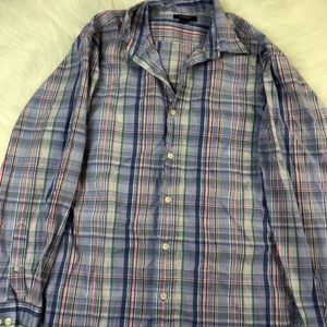 J.CREW MENS SIZE S BUTTON UP STRIPED LONG SLEEVE